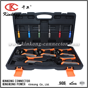 AUTOMOTIVE REPAIR TOOL KIT OF CRIMP TOOLS AND REMOVAL TOOLS FOR DEUTSCH TERMINALS AND WEATHER PACK TERMINALS CKK-TOOL-KIT